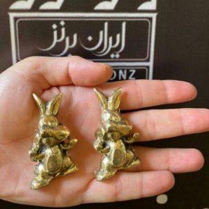 مجسمه خرگوش کوچک جفتی برنزی